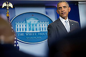 United States President Barack Obama makes a statement about multiple acts of violence in Paris in the Brady Press Briefing Room of the White House in Washington, D.C., U.S., on Friday, November 13, 2015. Obama said the U.S. is prepared to provide whatever assistance France needs in the wake of terrorist attacks in Paris that killed dozens of people on Friday night. <br /> Credit: Andrew Harrer / Pool via CNP