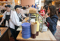 Kathy Lauriha, The Sandwich Lady, March 27, 2013 in the JSC Marketplace. (Photo by Marc Campos, Occidental College Photographer)