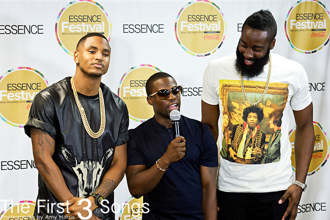 Trey Songz (born Tremaine Neverson), Kevin Hart, and James Harden speak with media at the 2013 Essence Festival at the Mercedes-Benz Superdome in New Orleans, Louisiana.