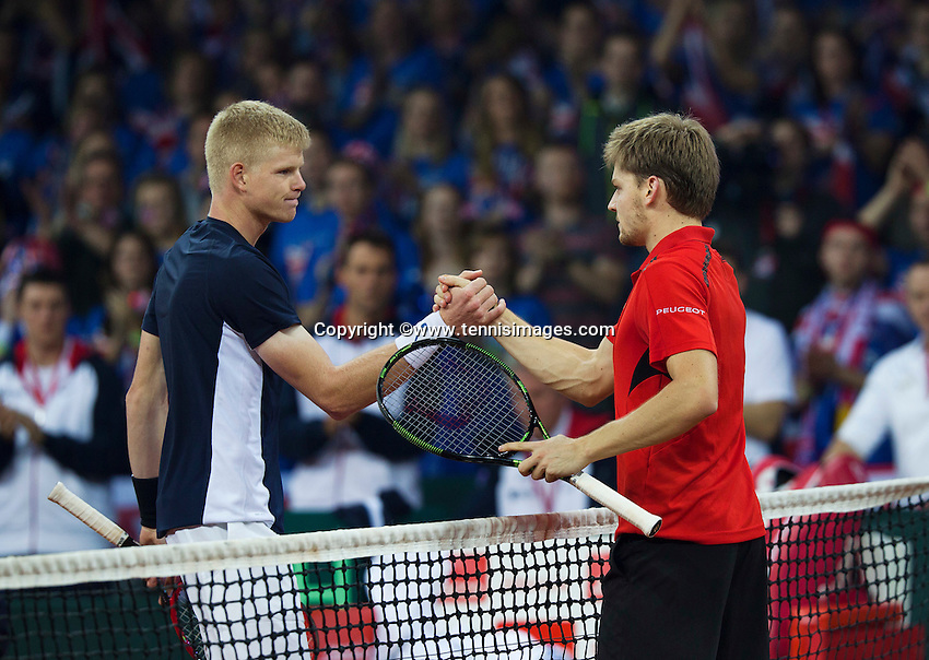 Gent, Belgium, November 27, 2015, Davis Cup Final, Belgium-Great Britain, First match, Kyle Edmund (GBR) (L) shakes hands with David Goffin (BEL) after losing his match<br /> © Henk Koster/Alamy Live News