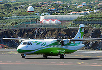 Spain, Canary Islands, La Palma, airport of La Palma, propeller plane of Binter Air, perfect for island hopping