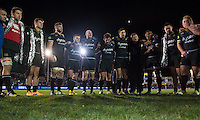 The Bath Rugby team huddle together after the match. European Rugby Champions Cup match, between Bath Rugby and Leinster Rugby on November 21, 2015 at the Recreation Ground in Bath, England. Photo by: Patrick Khachfe / Onside Images