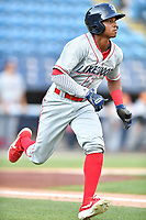 Lakewood BlueClaws Malvin Matos (33) runs to first base during a game against the Asheville Tourists at McCormick Field on August 5, 2019 in Asheville, North Carolina. The BlueClaws defeated the Tourists 4-2. (Tony Farlow/Four Seam Images)