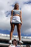 04 October 2014: UNC cheerleader. The University of North Carolina Tar Heels hosted the Virginia Tech Hokies at Kenan Memorial Stadium in Chapel Hill, North Carolina in a 2014 NCAA Division I College Football game. Virginia Tech won the game 34-17.