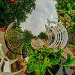 Urban Garden in St. Petersburg (Tunnel View). Composite of 21 images taken with a Fuji X-T3 camera and 8-16 mm lens (ISO 160, 8 mm, f/16, 1/60 sec). Raw images processed with Capture One Pro and AutoPano Giga Pro.