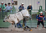 Riley Fish competes in the bull riding event at the Smackdown Tour at Fuji Park in Carson City, Nev., on Saturday, June 7, 2014.<br /> Photo by Cathleen Allison