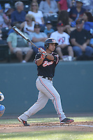 Christian Donahue (1) of the Oregon State Beavers bats during a game against the UCLA Bruins at Jackie Robinson Stadium on April 4, 2015 in Los Angeles, California. UCLA defeated Oregon State, 10-5. (Larry Goren/Four Seam Images)