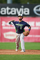 Vermont Lake Monsters second baseman Jesus Lopez (2) throws to first during the first game of a doubleheader against the Batavia Muckdogs August 11, 2015 at Dwyer Stadium in Batavia, New York.  Batavia defeated Vermont 6-0.  (Mike Janes/Four Seam Images)