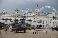 Chinook helicopter <br /> RAF100 Aircraft Tour: aircraft of the UK RAF / Royal Air Force on display on Horse Guards Parade in front of the Admiralty House, London, England on July 06, 2018.<br /> CAP/SDL<br /> &copy;Stephen Loftus/Capital Pictures