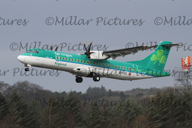 An Aer Lingus Regional operating as Stobart Air ATR 72-600 Registration EI-FCZ taking off for Cork Airport at Edinburgh Airport on 16.2.16.