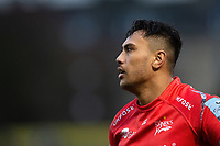 Denny Solomona of Sale Sharks looks on during a break in play. Gallagher Premiership match, between Bath Rugby and Sale Sharks on December 2, 2018 at the Recreation Ground in Bath, England. Photo by: Patrick Khachfe / Onside Images