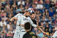 FOXBOROUGH, MA - AUGUST 4: Antonio Mlinar Delamea #19 of New England Revolution, Teal Bunbury #10 of New England Revolution, and Walker Zimmerman #25 of Los Angeles FC battle for corner kick during a game between Los Angeles FC and New England Revolution at Gillette Stadium on August 3, 2019 in Foxborough, Massachusetts.