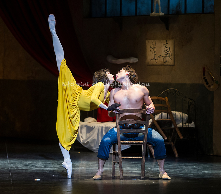 London, UK. 15.01.2018. English National Ballet presents 'Le Jeune Homme et la Mort' at the London Coliseum 16-20 Jan 2018. Choreography Roland Petit, Music Johann Sebastian Bach, Libretto Jean Cocteau, Design Georges Wakhévitch, Costumes Karinska, Lighting and Set Supervision Jean-Michel Desiré. Picture shows: Ivan Vasiliev & Tamara Rojo. Photo - © Foteini Christofilopoulou.