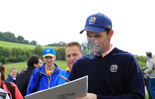 Padraig Harrington signs autographs during Practice Day 3 of the The 2010 Ryder Cup at the Celtic Manor, Newport, Wales, 29th September 2010..(Picture Eoin Clarke/www.golffile.ie)