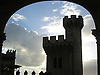 Silhoette of one of the towers of the Almudaina Palace in light of dawn seen through an arch<br /> <br /> Silueta de una de las torres del Palacio de Almudaina en luz de anochecer vista desde un arco<br /> <br /> Silhouette einer der T&uuml;rme des Almudaina Palastes im Abendlicht durch einen Rundbogen gesehen<br /> <br /> 2480 x 1859 px