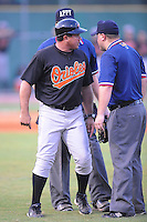 Einar Diaz Manager Bluefield Orioles (Baltimore Orioles) makes his point before being ejected at Joe O'Brien Stadium August 8, 2009 in Elizabethton, TN. (Photo by Tony Farlow/Four Seam Images)