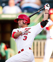 Jose Garcia (3) of the Springfield Cardinals follows through his swing during a game against the Northwest Arkansas Naturals at Hammons Field on June 14, 2012 in Springfield, Missouri. (David Welker/Four Seam Images).