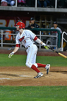 Nick Flair (19) of the Orem Owlz follows through on his swing against the Billings Mustangs in Game 2 of the Pioneer League Championship at Home of the Owlz on September 16, 2016 in Orem, Utah. Orem defeated Billings 3-2 and are the 2016 Pioneer League Champions.(Stephen Smith/Four Seam Images)