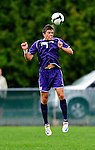 13 September 2009: University of Portland Pilots' defenseman Ryan Kawulok, a Sophomore from Fort Collins, CO, jumps to head the ball against the University of New Hampshire Wildcats during the second round of the 2009 Morgan Stanley Smith Barney Soccer Classic held at Centennial Field in Burlington, Vermont. The Pilots defeated the Wildcats 1-0 and inso doing were the Tournament Champions for 2009. Mandatory Photo Credit: Ed Wolfstein Photo