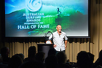 "Manly, New South Wales /Australia (Thursday, February 16, 2012) The Australian surfing tribe gathered in Manly last night to honour big-wave legend Ross Clarke-Jones as he was inducted into the Australian Surfing Hall of Fame...Clarke-Jones became the 34th Inductee into the Hall of Fame in front of more than 400 people at a gala function at the Manly Novotel...The 45-year-old was overwhelmed and humbled by the honour...""I am completely humbled,"" Clarke-Jones said. ""When you look at the guys on there I think Im not worthy. These guys are world champions, they design stuff everyone surfs on. Im really taken aback to be part of this list...""Its a bit like a bookend, but Im not ready to retire yet. With the whole Storm Surfer thing it feels like Im starting again. I feel like a spring chicken...""Im honoured to be recognised as its something I never dreamed of receiving."".World No.3 Owen Wright was named the Male Surfer of the Year; womens World No.2 Sally Fitzgibbons was named Female Surfer of the Year; and ASP Womens Rookie of the Year Tyler Wright won the Rising Star Award...Ten-time Molokai paddleboard champion and winner of the recent Biggest Paddle Award in the ASL Oakley Big-Wave Awards Jamie Mitchell won the inaugural Waterman Award...The ASB Surfing Spirit Award was won by 1988 World Champion Barton Lynch for his tireless efforts to training and mentoring the surfing champions of tomorrow including organising the successful BLs Blast Off event for junior surfers.. Photo: joliphotos.com"