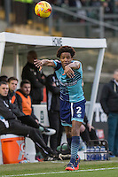 Sido Jombati of Wycombe Wanderers takes a throw during the Sky Bet League 2 match between Plymouth Argyle and Wycombe Wanderers at Home Park, Plymouth, England on 26 December 2016. Photo by Mark  Hawkins / PRiME Media Images.