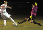 (Worcester Ma 111613) Belchertown 17, Jonathan Ingram, gets close but Medway goalie Michael Bagdon, blocks the path,  during the MIAA Divsion Three Boys Soccer Final between Belchertown High and Medway High, Saturday night at Foley Field in Worcester. (Jim Michaud Photo) For Sunday