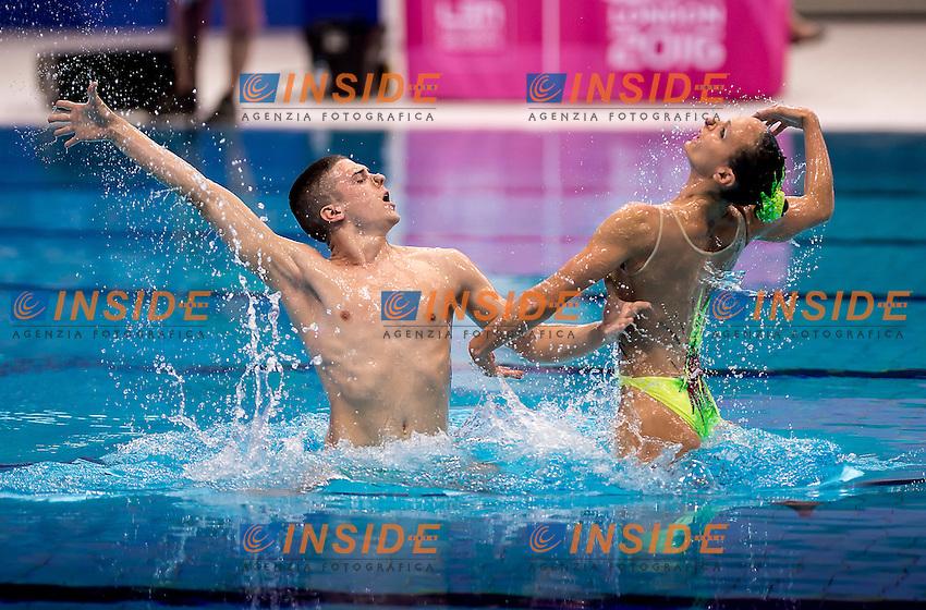 MINISINI Giorgio  PERRUPATO Mariangela  ITA<br /> London, Queen Elizabeth II Olympic Park Pool <br /> LEN 2016 European Aquatics Elite Championships <br /> Mixed duet free<br /> Day 03 11-05-2016<br /> Photo Giorgio Scala/Deepbluemedia/Insidefoto