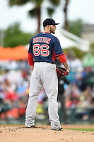 Boston Red Sox pitcher Drake Britton (66) during a spring training game against the Baltimore Orioles on March 24, 2014 at Ed Smith Stadium in Sarasota, Florida.  The game was called due to rain.  (Mike Janes/Four Seam Images)