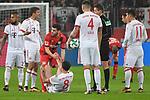 12.01.2018, BayArena, Leverkusen , GER, 1.FBL., Bayer 04 Leverkusen vs. FC Bayern M&uuml;nchen<br /> im Bild / picture shows: <br /> gelbe Karte f&uuml;r f&uuml;r Karim Bellarabi (Leverkusen #38), Javi Martinez (Bayern Muenchen #8),  am Boden Kevin Volland (Leverkusen #31), hilft ihm auf <br /> <br /> <br /> Foto &copy; nordphoto / Meuter