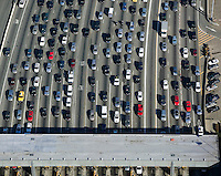 aerial photograph of traffic approaching toll plaza San Francisco Oakland Bay Bridge