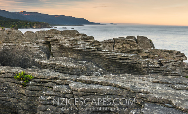 Dawn on coast in Punakaiki with weathered limestone formations, Paparoa National Park, Buller region, West Coast, New Zealand, NZ