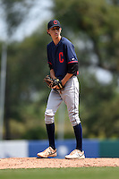 Jackson Kowar (44) of Charlotte Christian High School in Matthews, North Carolina playing for the Cleveland Indians scout team during the East Coast Pro Showcase on August 1, 2014 at NBT Bank Stadium in Syracuse, New York.  (Mike Janes/Four Seam Images)
