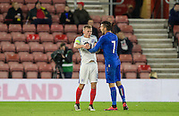 Lorenzo Pellegrini (Sassuolo) of Italy and James Ward-Prowse (Southampton) of England push each other and are both shown yellow cards during the Under 21 International Friendly match between England and Italy at St Mary's Stadium, Southampton, England on 10 November 2016. Photo by Andy Rowland.