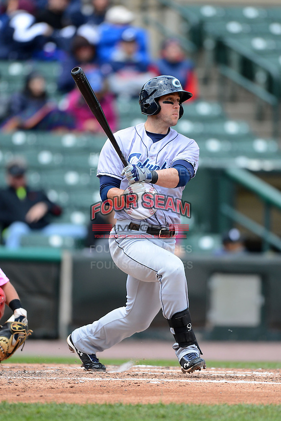 Columbus Clippers designated hitter Jeremy Hermida #27 during a game against the Rochester Red Wings on May 12, 2013 at Frontier Field in Rochester, New York.  Rochester defeated Columbus 5-4.  (Mike Janes/Four Seam Images)