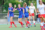 Mannheim, Germany, September 27: During the 1. Bundesliga Damen Saison 2014/15 field hockey match between Mannheimer HC and TSV Mannheim on September 27, 2014  Mannheimer Hockey Club in Mannheim, Germany. Final score 3-3 (2-3). (Photo by Dirk Markgraf / www.265-images.com) *** Local caption *** Greta Lyer #10 of Mannheimer HC, Maxi Pohl #6 of Mannheimer HC, Nike Lorenz #16 of Mannheimer HC