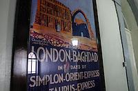 Aleppo, hotel Baron, manifesto dell'orient express London-Bagdad in sette giorni