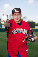 Hickory Crawdads starting pitcher Luis Ortiz (14) poses for a photo prior to the game against the Greensboro Grasshoppers at L.P. Frans Stadium on May 6, 2015 in Hickory, North Carolina.  The Crawdads defeated the Grasshoppers 1-0.  (Brian Westerholt/Four Seam Images)