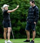 Brittney Dryland explains a shot to caddy Johnny Tynan during the Barfoot and Thompson Charles Tour, Akarana Open, Akarana Golf Club, Auckland, Sunday 17  April 2016. Photo: Simon Watts/www.bwmedia.co.nz