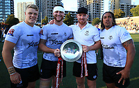 TORONTO, ON - SEPTEMBER 09:  Jack Bussey #13, Adam Sidlow #21, James Laithwaite #12 and Fuifui Moimoi #8 of Toronto Wolfpack celebrate with the Championship 1 Promotion Trophy after victory over Barrow Raiders following a Kingstone Press League 1 Super 8s match at Lamport Stadium on September 9, 2017 in Toronto, Canada.  (Photo by Vaughn Ridley/SWpix.com)