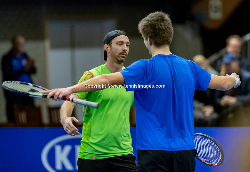 Alphen aan den Rijn, Netherlands, December 16, 2018, Tennispark Nieuwe Sloot, Ned. Loterij NK Tennis, Men's doubles final: Matwe Middelkoop (NED) (L) and Sander Arends (NED) celebrate matchpoint<br /> Photo: Tennisimages/Henk Koster
