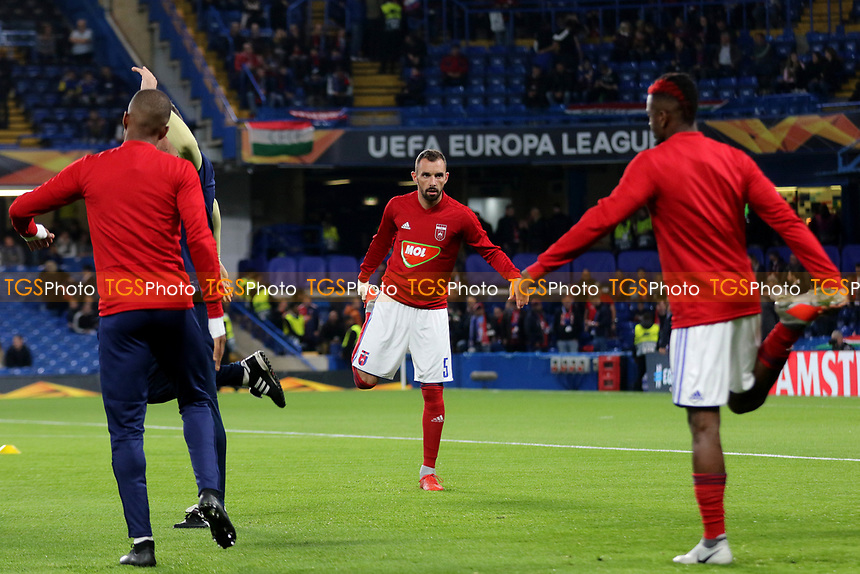Mol Vidi players warm up ahead of kick-off during Chelsea vs MOL Vidi, UEFA Europa League Football at Stamford Bridge on 4th October 2018