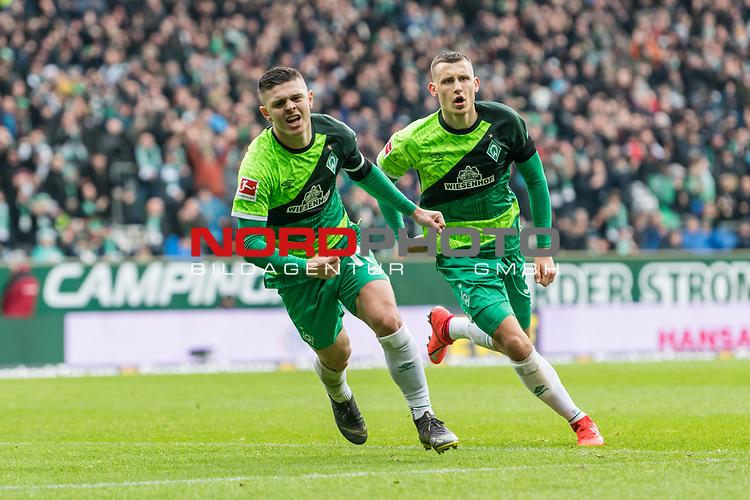 10.02.2019, Weserstadion, Bremen, GER, 1.FBL, Werder Bremen vs FC Augsburg<br /> <br /> DFL REGULATIONS PROHIBIT ANY USE OF PHOTOGRAPHS AS IMAGE SEQUENCES AND/OR QUASI-VIDEO.<br /> <br /> im Bild / picture shows<br /> Milot Rashica (Werder Bremen #11) bejubelt seinen Treffer zum 3:0 mit Maximilian Eggestein (Werder Bremen #35), <br /> <br /> Foto © nordphoto / Ewert