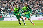 10.02.2019, Weserstadion, Bremen, GER, 1.FBL, Werder Bremen vs FC Augsburg<br /> <br /> DFL REGULATIONS PROHIBIT ANY USE OF PHOTOGRAPHS AS IMAGE SEQUENCES AND/OR QUASI-VIDEO.<br /> <br /> im Bild / picture shows<br /> Milot Rashica (Werder Bremen #11) bejubelt seinen Treffer zum 3:0 mit Maximilian Eggestein (Werder Bremen #35), <br /> <br /> Foto &copy; nordphoto / Ewert