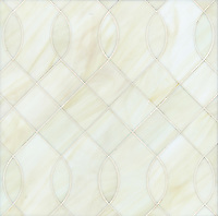 Vivian, a jewel glass water jet mosaic, shown in Quartz, is part of the Ann Sacks Beau Monde collection sold exclusively at www.annsacks.com