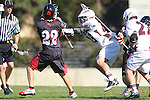 Los Angeles, CA 02/10/11 - Damian Bagby (SDSU #22) and Michael Hanover (LMU #25) in action during the SLC contest between LMU and visiting San Diego State.  LMU defeated SDSU 9-3.