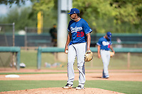 Los Angeles Dodgers relief pitcher Guillermo Zuniga (29) during an Instructional League game against the Oakland Athletics at Camelback Ranch on October 4, 2018 in Glendale, Arizona. (Zachary Lucy/Four Seam Images)