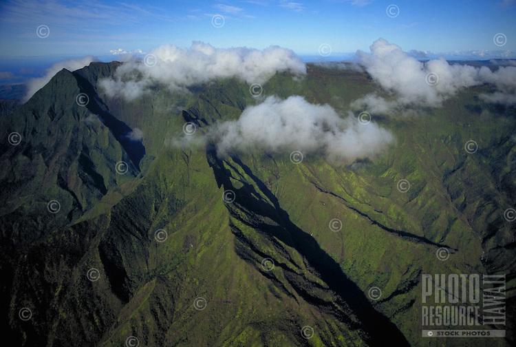 Waialeale crater aerial, wettest spot on earth, Kauai