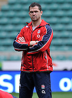 Twickenham, England. England Backs Coach Andy Farrell  looks on during the England captains run for the QBE Internationals England v Fiji at Twickenham Stadium on 10 November. Twickenham, England, November 9. 2012.