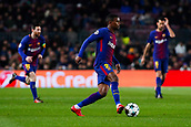 5th December 2017, Camp Nou, Barcelona, Spain; UEFA Champions League football, FC Barcelona versus Sporting Lisbon; Nelson Semedo of FC Barcelona passes the ball