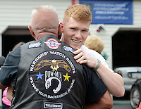 E-3 John Gallagher, U.S. Air Force greets members of A Hero's Welcome as they arrive to wish him well in his upcoming deployment Sunday August 9, 2015 in Bensalem, Pennsylvania. (Photo by William Thomas Cain)